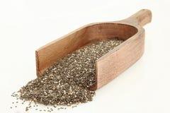 Mestolo di legno con Chia Seeds Isolated Fotografie Stock Libere da Diritti