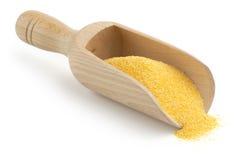Mestolo di legno con farina di mais Immagini Stock