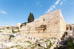 Mestpoort van de oude stad en de Moskee al-Aqsa Reis naar Jeruzalem israël stock afbeeldingen
