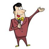 Mestre de cerimônias do anfitrião dos desenhos animados com microfone ilustração stock