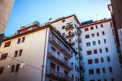 MESTRE, ITALIA - 22 AGOSTO 2016: Monumenti e facciate architettonici famosi delle costruzioni della città in primo piano di Mestr Immagine Stock Libera da Diritti
