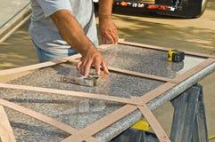 Mesure de partie supérieure du comptoir de granit Photo stock
