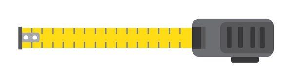 Mesure de roulette Outil jaune de bâtiment D'isolement sur le blanc Images libres de droits