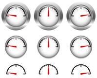 Mesures génériques, cadrans avec la main d'horloge rouge, indicateur Photographie stock