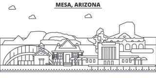 Mesy, Arizona architektury linii linii horyzontu ilustracja Liniowy wektorowy pejzaż miejski z sławnymi punktami zwrotnymi, miast ilustracja wektor