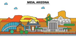 Mesy, Arizona Miasto linii horyzontu architektura Zdjęcie Stock