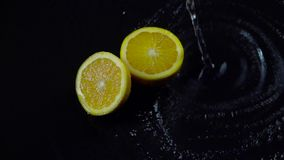 A metà arancio con spruzza dell'acqua su un fondo nero Movimento lento video d archivio