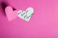 Metà-Cut del cuore da documento rosa Fotografia Stock Libera da Diritti