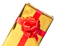 Metà del contenitore di regalo dorato Fotografie Stock Libere da Diritti