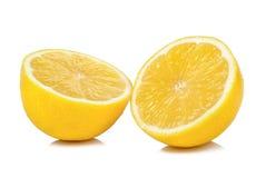 Metà del limone isolata su fondo bianco Immagini Stock Libere da Diritti