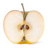 Metà della mela gialla rossa Fotografie Stock