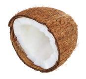 Metà della noce di cocco isolata su fondo bianco Disposizione piana Vista superiore Immagini Stock Libere da Diritti