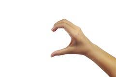 Metà della palma della manifestazione del segno del cuore Immagine Stock