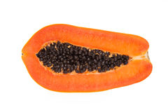 Metà della papaia gialla su fondo bianco Immagini Stock