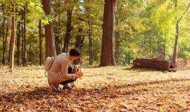 Metà di donna di età con il cane da lepre che cammina nel parco di autunno fotografia stock libera da diritti