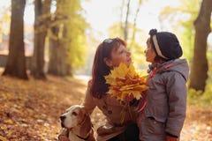 Metà di donna di età con la bambina ed il cane da lepre che camminano nel autum fotografia stock libera da diritti