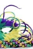 Metà di una mascherina messa le piume a di gras di mardi sui branelli Fotografia Stock Libera da Diritti