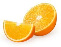 Metà e fetta di frutta arancio fresca isolata su bianco Fotografia Stock Libera da Diritti