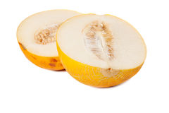 Metà fresche del melone di galia Fotografia Stock