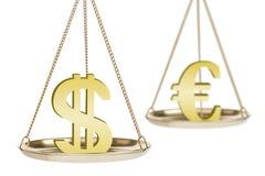 Metáfora da troca de moeda Foto de Stock Royalty Free