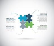 Metáfora do negócio, conexão de quatro partes do enigma Fotografia de Stock