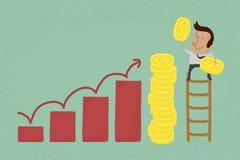 Metáfora do sucesso descrita com moedas Imagens de Stock