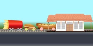 Metáfora do trem do fast food ilustração do vetor
