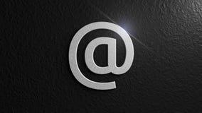 Metálico en la muestra con la llamarada en fondo negro Correo electrónico Ejemplo gráfico representación 3d Fotos de archivo libres de regalías