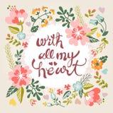 Met al mijn hart Modieuze bloemenkaart in heldere de zomerkleuren Stock Afbeelding