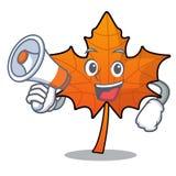 Met beeldverhaal van het het bladkarakter van de megafoon het rode esdoorn vector illustratie