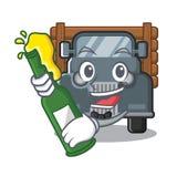 Met bier miniatuur oude vrachtwagen als karaktervoorzitter vector illustratie
