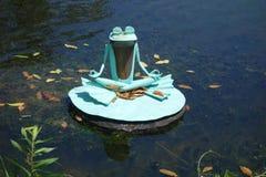 Met de benen over elkaar kikkerstandbeeld die op leliestootkussen mediteren stock afbeeldingen