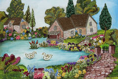 Met de hand gemaakt borduurwerkbeeld Royalty-vrije Stock Foto's