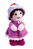 Met de hand gemaakt brei stuk speelgoed, roze pop Royalty-vrije Stock Fotografie