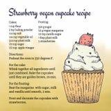 Met de hand gemaakt de kaartmalplaatje van het veganist cupcake recept met illustratie Stock Foto's