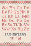 Met de hand gemaakt gebreid abstract patroon als achtergrond met alfabet Stock Afbeeldingen