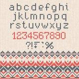 Met de hand gemaakt gebreid abstract patroon als achtergrond met alfabet, lowe stock illustratie