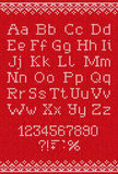 Met de hand gemaakt gebreid abstract patroon als achtergrond met alfabet, uppe Royalty-vrije Stock Afbeelding