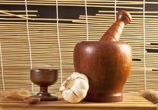 Met de hand gemaakt houten mortier Stock Fotografie