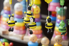 Met de hand gemaakt houten speelgoed Stock Foto