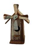 Met de hand gemaakt houten vogelhuis op witte achtergrond Stock Foto's