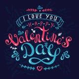 Met de hand gemaakt kalligrafieontwerp greetingcard met gelukkige valentine'sdag op donkerblauwe achtergrond Royalty-vrije Stock Afbeeldingen