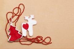 Met de hand gemaakt Kerstmisspeelgoed Royalty-vrije Stock Foto's