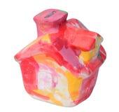 Met de hand gemaakt kleurrijk moneyboxhuis Stock Afbeelding