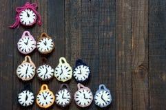 Met de hand gemaakt, klok, gelukkig nieuw jaar 2016, tijd Royalty-vrije Stock Fotografie