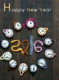 Met de hand gemaakt, klok, gelukkig nieuw jaar 2016, tijd Stock Foto