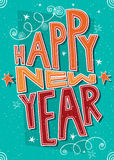 Met de hand gemaakt prentbriefkaar Gelukkig Nieuwjaar Stock Foto