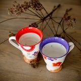Met de hand gemaakte ceramische koppen Royalty-vrije Stock Afbeelding