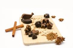Met de hand gemaakte chocolade met johannesbrood Stock Fotografie