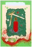 Met de hand gemaakte de prentbriefkaar van Kerstmis Stock Afbeeldingen